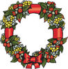 Christmas Wattle Leaf And Flower Wreath With A Bow