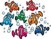 Happy Colorful Clownfish With Bubbles