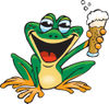 Happy Green Frog Holding Up A Beer