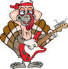 Cartoon Happy Turkey Bird Playing an Electric Guitar