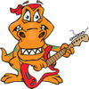 Cartoon Happy T Rex Dinosaur Playing an Electric Guitar