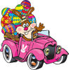 Bunny Rabbit Waving And Driving A Pink Pickup Truck With Easter Eggs In The Back...