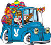 Bunny Rabbit Waving And Driving A Blue Pickup Truck With Easter Eggs In The Back...