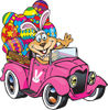 Dog Wearing Bunny Ears, Waving And Driving A Pink Pickup Truck With Easter Eggs ...