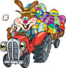 Bunny Rabbit Farmer Driving A Red Tractor And Transporting Easter Eggs In A Cart...