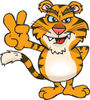 Peaceful Tiger Smiling And Gesturing The Peace Sign