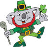 St Patricks Day Koala Leprechaun Dancing With A Clover