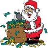 Santa With A Sack Full Of Donated Cash And Coins