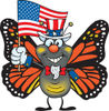 Patriotic Uncle Sam Monarch Butterfly Waving An American Flag On Independence Da...