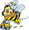 Honey Bee Character Carrying Pails Of Honey