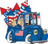 American Uncle Sam Driving A Truck With Fireworks In The Bed