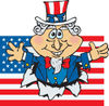 American Uncle Sam Bursting Through A Flag