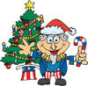 American Uncle Sam Celebrating Christmas