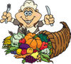 Thanksgiving Pilgrim Woman With Silverware, Standing Over A Cornucopia