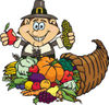 Thanksgiving Pilgrim Man Holding Corn And An Apple Over A Horn Of Plenty