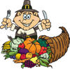 Thanksgiving Pilgrim Man With Silverware, Standing Over A Cornucopia