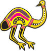 Aboriginal Yellow And Pink Emu