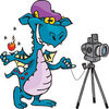Teal Photographer Dragon By A Camera