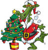 Green Santa Dragon Decorating A Christmas Tree