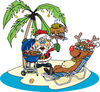Royalty-Free (RF) Clipart Illustration of Santa Grilling Food For Rudolph On A Tropical Christmas Island