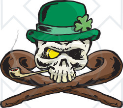 Clipart St Patricks Day Skull With Crossed Canes A Pipe Gold Eye And Leprechaun Hat - Royalty Free Vector Illustration