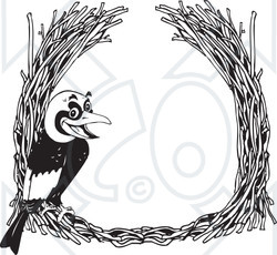 Clipart Black And White Golden Bowerbird With A Straw Frame - Royalty Free Vector Illustration