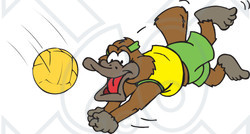 Clipart Platypus Diving For A Volleyball - Royalty Free Vector Illustration