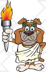 Clipart Olympic Games Bulldog Holding A Torch - Royalty Free Vector Illustration