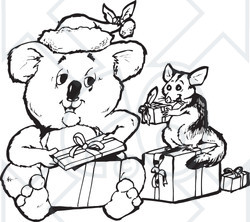 Clipart Black And White Aussie Christmas Koala Opening Presents With A Possum