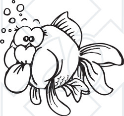 Clipart Black And White Goldfish - Royalty Free ...