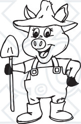 Clipart Black And White Pig Farmer - Royalty Free ...
