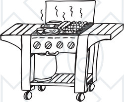 Clipart Black And White Gas Bbq Grill - Royalty Free ...