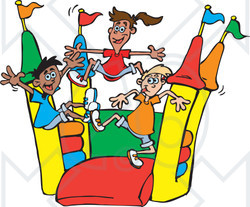 Clipart of Happy Children Jumping on a Colorful Castle Bouncy House 2 - Royalty Free Vector Illustration