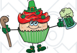 Clipart of a Leprechaun St Patricks Day Holiday Cupcake Holding a Beer and Cane - Royalty Free Vector Illustration