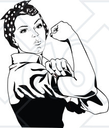 Clipart of a Black and White Rosie the Riveter Flexing and Facing Right - Royalty Free Vector Illustration