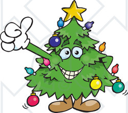 Clipart of a Happy Christmas Tree Giving a Thumb up - Royalty Free Vector Illustration