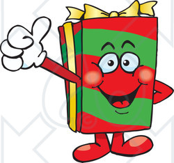 Clipart of a Happy Christmas Gift Character Giving a Thumb up - Royalty Free Vector Illustration