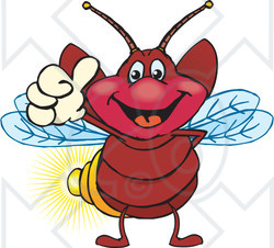 Clipart of a Happy Firefly Giving a Thumb up - Royalty Free Vector Illustration
