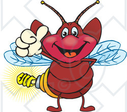 Clipart of a Happy Firefly with a Light Bulb Butt, Giving a Thumb up - Royalty Free Vector Illustration