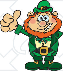Clipart of a Happy Leprechaun Giving a Thumb up - Royalty Free Vector Illustration