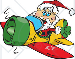 Clipart of a Happy Santa Claus Holding a Thumb up and Flying a Plane - Royalty Free Vector Illustration