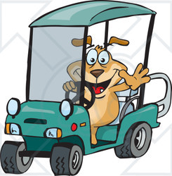 Clipart of a Sparkey Dog Driving a Golf Cart and Waving - Royalty Free Vector Illustration