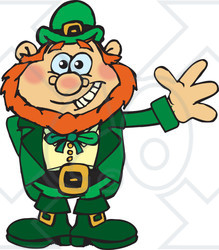Clipart of a Happy Leprechaun Waving - Royalty Free Vector Illustration
