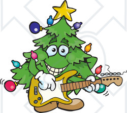 Clipart of a Happy Christmas Tree Playing an Electric Guitar - Royalty Free Vector Illustration