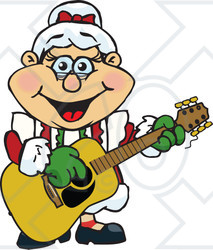 Clipart of a Happy Mrs Claus Playing Christmas Music on an Acoustic Guitar - Royalty Free Vector Illustration