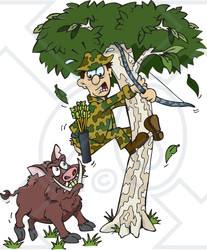 Clipart of a Boar Chasing a Scared Male Hunter into a Tree - Royalty Free Vector Illustration