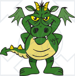 Clipart of a Green Dragon Standing - Royalty Free Vector Illustration