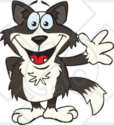 Clipart of a Friendly Waving Border Collie - Royalty Free Vector Illustration
