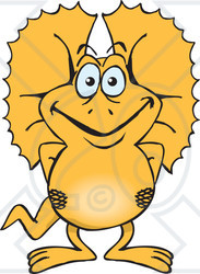 Clipart of a Happy Frill Lizard - Royalty Free Vector Illustration