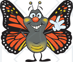 Clipart of a Friendly Waving Monarch Butterfly - Royalty Free Vector Illustration